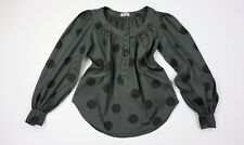 ACNE JEANS Balloon Sleeves Polka Dot Print Black/Gray Blouse Top size S (36)