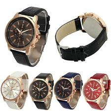 Classis Casual Geneva Men Women Watch Faux Leather Quartz Analog Wrist Watches