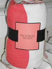 VICTORIAS SECRET CORAL STRIPED BLANKET THROW BEACH DORM 50 X 60 NWT 100% COTTON