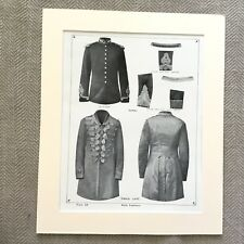 Antique Military Print Uniform British Army Royal Engineers Regiment Frock Coat
