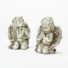 "Roman Inc Cherub Angel Pewter Metallic Pair Figurine Statue Decorative Set 8"""