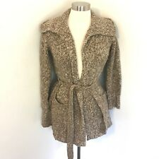 Talbot Size Petite Cardigan Sweater Belted Oatmeal Heathered Wool Blend Knit