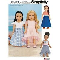 """SIMPLICITY Sewing Pattern~ 8903 Childs Childrens Girl  18"""" Doll Clothes One Size"""