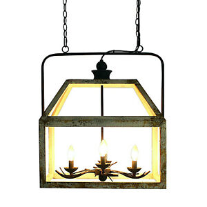 Pendant Light with White Wash Finish Lantern Style Chandelier Japanese Pagoda