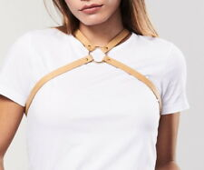 Bijoux Indiscrets MAZE Cross Chest Harness in Brown Vegan Leather, O/S, NWT/Box