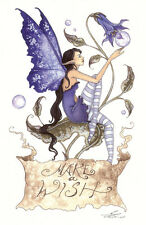 Amy Brown Print Fairy MAKE A WISH Banner Sign Faery NEW Blue Garden Flower