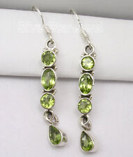 """Multi Gemstone Earrings !! 925 Sterling Silver PERIDOT LONG Earrings 1.9"""" NEW"""