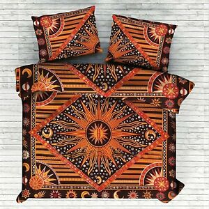 Queen Size Duvet Cover With 2 Pillow Burning Sun Indian Bedcover Cotton Orange