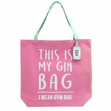 Large Pink Canvas Shopper Shopping Tote This is My Gin Bag, I Mean Gym Slogan
