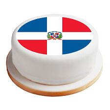 """Dominican Republic Flag - 8"""" Pre-Cut Round Cake Topper Premium Sugar Icing Sheet"""