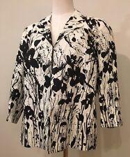 *NWT $99 * Coldwater Creek  Linen Ivory & Black Floral Jacket Blazer - Size 12