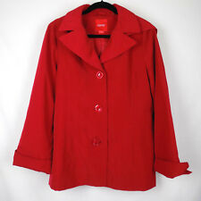 ESPRIT Women's Size Large Solid Red Three Button Basic Hooded Jacket