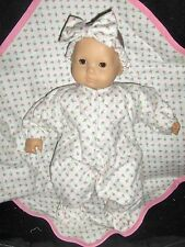 "Rosebud Sleeper Blnkt 15"" Doll Clothes Handmade To Fit American Girl Bitty Baby"