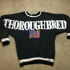 90s VTG USA FLAG THOROUGHBRED American L Sweatshirt STARS and STRIPES