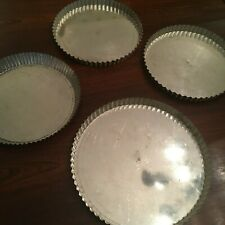 4 Fluted Tart Tin French Round VTG Quiche Baking Pan Removable Bottoms FRANCE