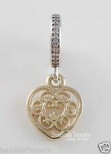 MAGNIFICENT HEART Genuine PANDORA Silver~14K GOLD Tribal LOVE Charm~Dangle NEW