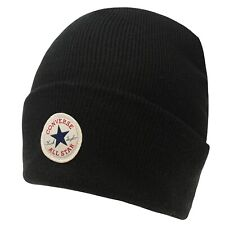 MENS WOMENS BLACK CONVERSE CUFF KNIT KNITTED WOOLLY BEENIE BEANIE BOBBLE HAT