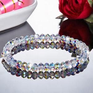 6mm Aurora Borealis Square Crystals Bracelet Wristband Wedding Jewelry Gifts Hot