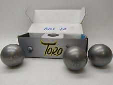 3 Boules de Pétanque TORO Compétition Inox Lisse 71mm 680g + Gravage - NEUVES