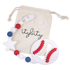 Baby Teether Baseball and Pacifier Clip Teether Set