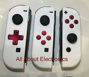 Nintendo Switch Custom Joy-Con Soft Touch White Joy Cons Controllers Red D-PAD