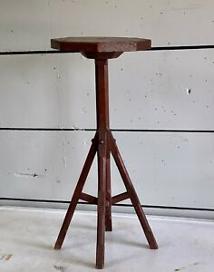 Antique Arts & Crafts Mission Handmade Oxblood Red Side Table