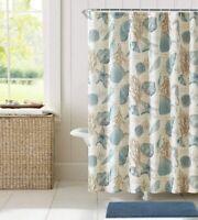 Nice! Coastal Decor Ivory Blue Starfish Seashell Pretty Fabric Shower Curtain