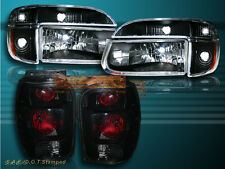 1998-2001 FORD EXPLORER BLACK HEADLIGHTS + CORNER LIGHTS + BLK SMOKE TAIL LIGHTS