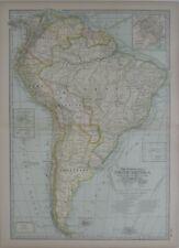 Original 1897 Map SOUTH AMERICA Explorers Columbus Magellan Balboa Pizarro Cabot