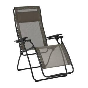 LAFUMA Foldable Lawn Chair Sling Graphite Steel Frame Reclining Zero Gravity