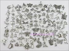 100Pcs Mixed Lots of Tibetan Silver Tone Animals Charms Pendants