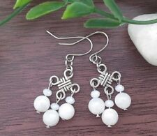 Natural WHITE MOONSTONE Gemstone On Chinese Lucky Knot Dangle Earrings Feng Shui