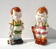 "Vintage 5 1/4"" Porcelain Ceramic Figurines CHUBBY CHEEK GIRL & BOY with Dog"