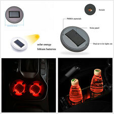 2 x Solar Energy Cup Holder Bottom Pad Red LED Light Trim Universal For All Cars