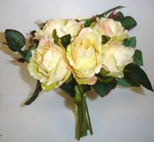New Tied Bundle/Bouquet x7 Stems Queen Roses Silk Flowers Cream/Yellow 9in
