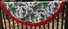Vintage Tablecloth LEACOCK Christmas Holly Berries Red Fringe