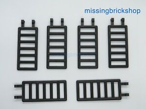 Lego Pack of 6 - Bar 7 x 3 with Double Clips 6020 (Ladder) Black. NEW