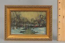 Antique WALTER BAUM Bucks County PA Impressionist Winter Landscape Oil Painting