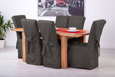 Set of 8 Slate Grey Fabric Dining Chair Covers for Scroll Top High Back Leather