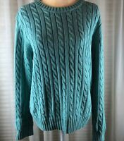 Tommy Hilfiger Women's Aqua Blue 100% Cotton Long Sleeve Pullover Sweater XL