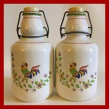Rosenthal Netter Swing Top/Lock Top Jars - Set Of 2 - Rooster - Italian Pottery