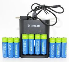 10 x Etinesan1.5v 3000mWh li-polymer rechargeable powerful batteries w/ charger