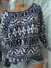 Sheego Pullover Pulli Strick blau gemustert (743) (429) (138)