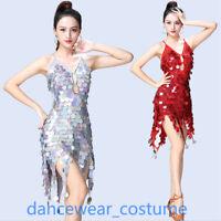 Sequins Party Ballroom Latin Tango Dance Dress Sling Salsa Fringes Tassels Skirt