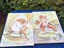 VINTAGE Handpainted Canvas ART Beatrix Potter Oil Painting FISHING FROG SET of 2