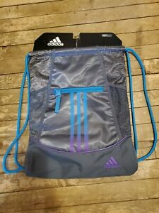 NWT Adidas Alliance Drawstring Backpack Bag Gray with Blue and Purple