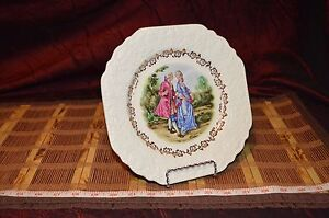 """Lord Nelson Pottery England Courting Couple Plate w/ Gold Floral Edge 9"""""""