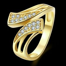 Special Small Round Cubic Zircon Inlay 18 K Gold Plated Copper Lady Ring Size 8