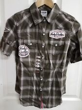 #348 NWT Harley-Davidson women's shirt, green and pink plaid, XS