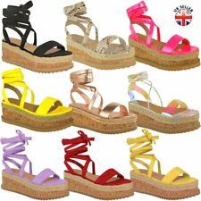 Womens Flat Wedge Summer Sandals Flatform Espadrilles Ankle Lace Tie Up Platform